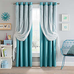 Sparkle Grommet Blackout Layered Sheer Window Curtain Panel