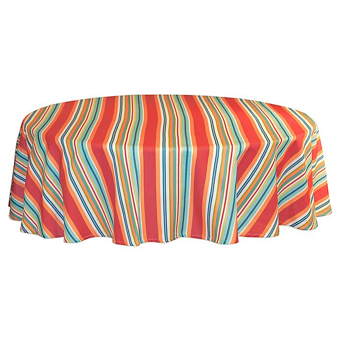 Alternate image 1 for Mystic Stripe 60-Inch Round Tablecloth in Aqua