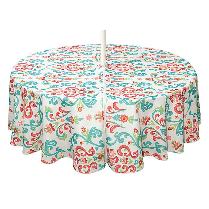 Alternate image 1 for Destination Summer Odesa 70-Inch Round Indoor/Outdoor Tablecloth with Umbrella Hole