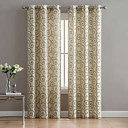 Scroll Flocked Grommet 84-inch Window Curtain Panel Pair in Taupe