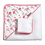 JJ Cole® 2-Piece Pink Flamingo Hooded Towel and Washcloth Set