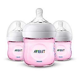 Philips Avent Natural 4-Ounce Bottle in Pink (3-Pack)