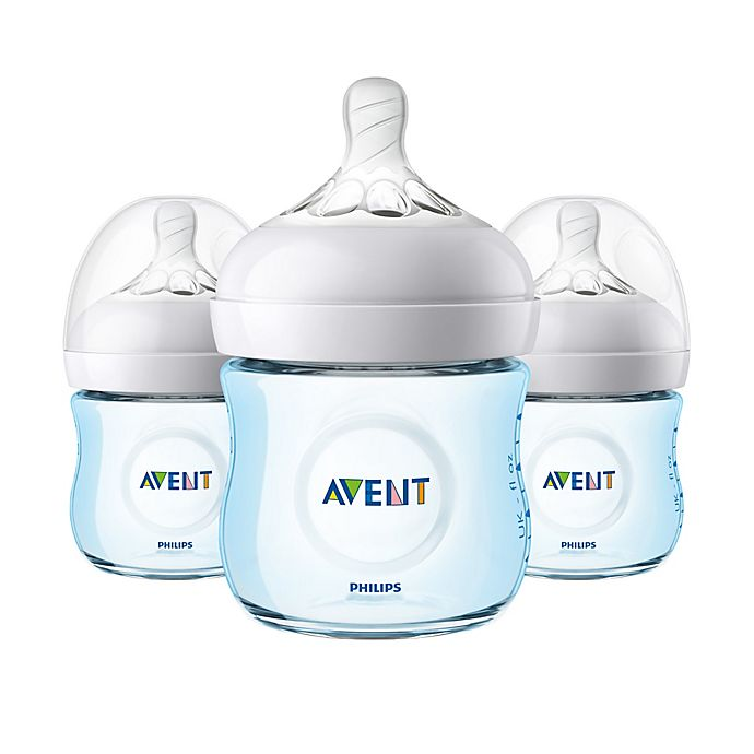 Alternate image 1 for Philips Avent 3-Pack 4 oz. Natural Baby Bottles in Blue