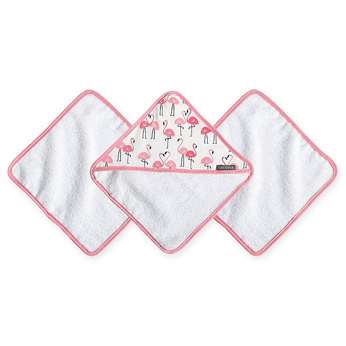 Alternate image 1 for JJ Cole® 3-Pack Pink Flamingo Washcloths