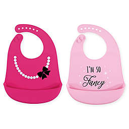 Hudson Baby® 2-Pack Fancy Silicone Bibs in Pink
