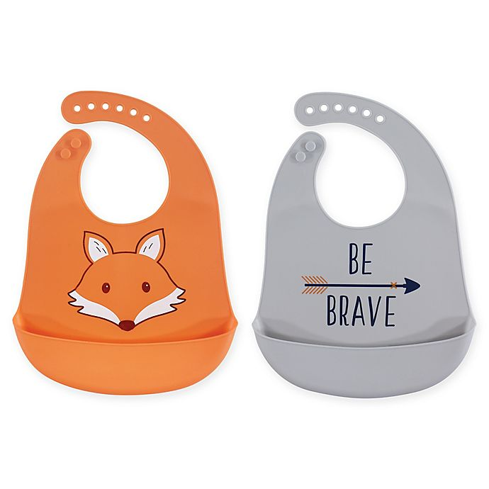 Alternate image 1 for Hudson Baby® 2-Pack Fox Silicone Bibs in Orange