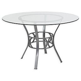 Flash Furniture Carlisle 48-Inch Metal and Glass Round Dining Table