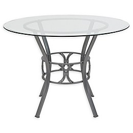 Flash Furniture Carlisle 42-Inch Metal and Glass Round Dining Table