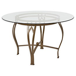 Flash Furniture Syracuse 48-Inch Metal and Glass Round Dining Table