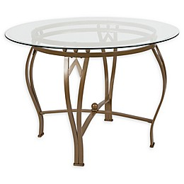 Flash Furniture Syracuse 42-Inch Metal and Glass Round Dining Table