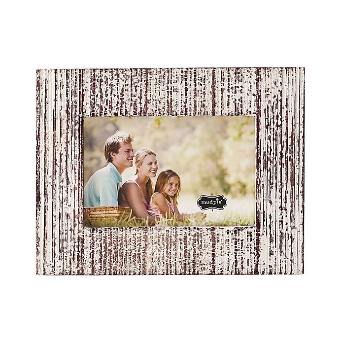 Alternate image 1 for Mud Pie Distressed White-Washed Small Wood Picture Frame