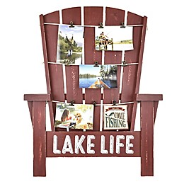 Adirondack-Inspired Lake Life 21-Inch x 26.5-Inch Wood Photo Clip Frame in Red