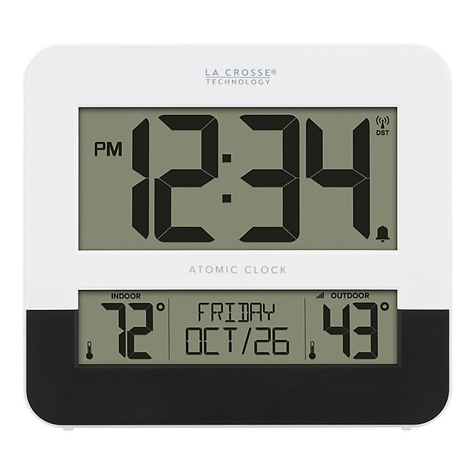 Alternate image 1 for La Crosse 8.54-Inch Atomic Digital Wall Clock with In/Outdoor Temperature in Black/White