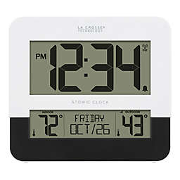 La Crosse 8.54-Inch Atomic Digital Wall Clock with In/Outdoor Temperature in Black/White