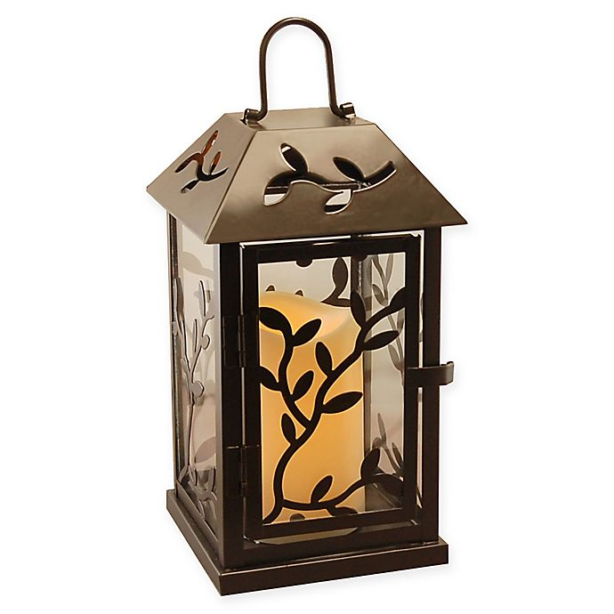 Alternate image 1 for Metal Vine Lantern with LED Candle and Timer in Black