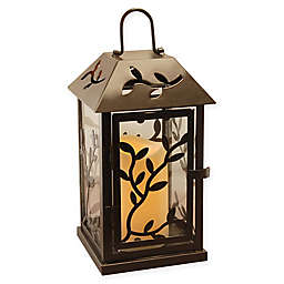 Metal Vine Lantern with LED Candle and Timer in Black