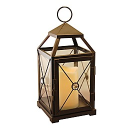 Warm Black Gem Metal Lantern with LED Candle and Timer