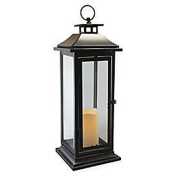 Traditional Metal Lantern with LED Candle and Timer in Black