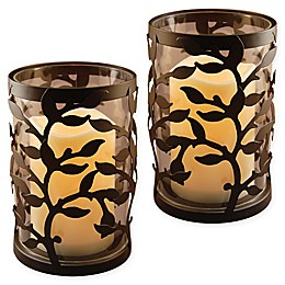 Round Vine Metal Lanterns with LED Candles and Timer in Warm Black (Set of 2)