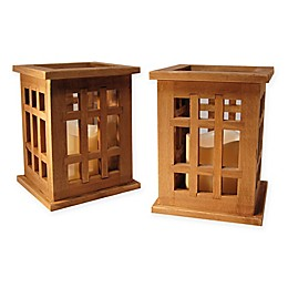 Wooden Lanterns with LED Candles and Timers in Natural Brown (Set of 2)