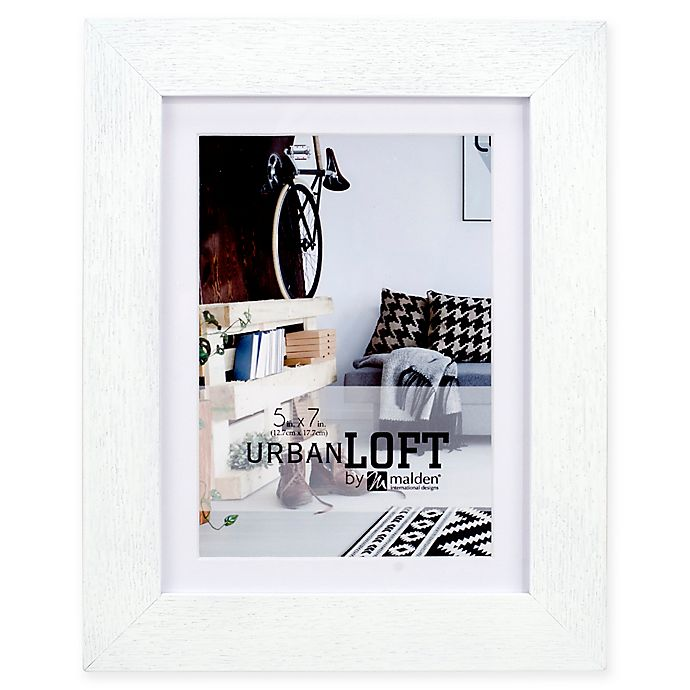 Alternate image 1 for Malden®  Urban Loft 5-Inch x 7-Inch Matted Wood Photo Frame in White