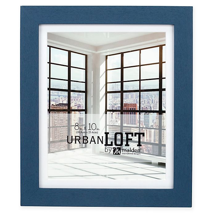 Alternate image 1 for Malden® Urban Loft 8-Inch x 10-Inch Matted Wood Photo Frame in Blue