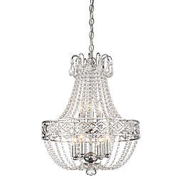 Minka-Lavery® Via Capri 7-Light Flush-Mount Beaded Empire Chandelier in Chrome