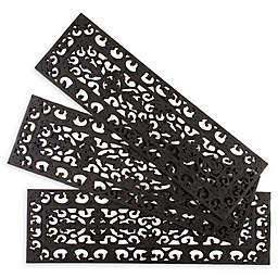 "Entryways Fleur de Lis 9"" x 30"" Rubber Stair Treads in Black (Set of 3)"