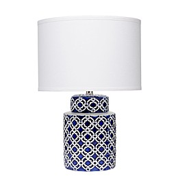 Marina Quatrefoil 21.5-Inch Table Lamp in Blue/White with White Fabric Shade