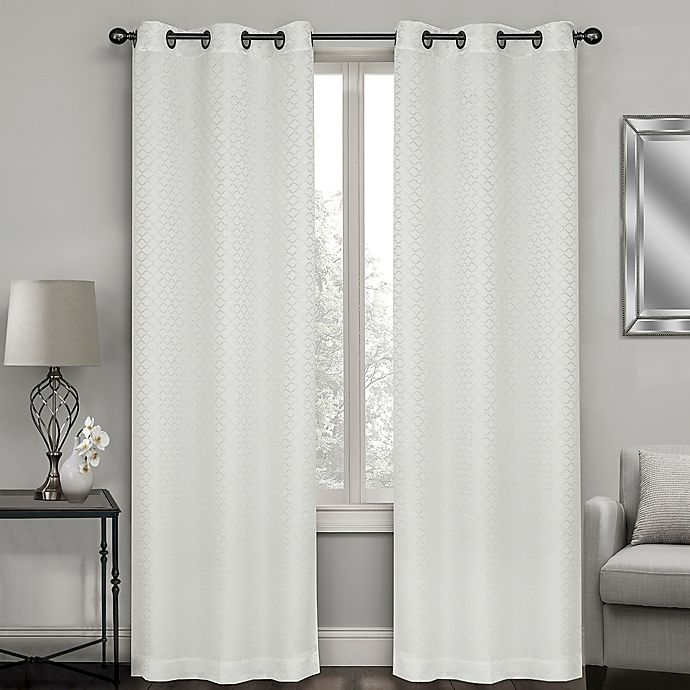 Alternate image 1 for Sydney Jacquard 95-Inch Grommet Window Curtain Panel Pair in White