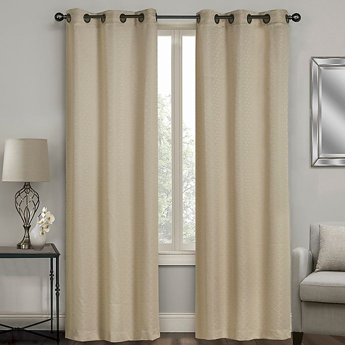 Alternate image 1 for Sydney Jacquard 63-Inch Grommet Window Curtain Panel Pair in Linen