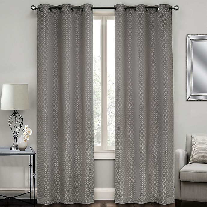 Sydney Jacquard Grommet Window Curtain Panel Pair Bed