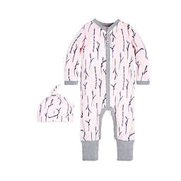 Burt's Bees Baby® 2-Piece Love You More Organic Cotton Coverall and Cap Set in Pink