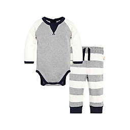 2-Piece Organic Cotton Bodysuit and Pant Set in Grey