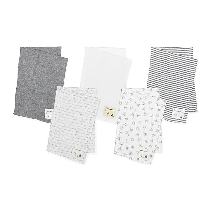 Alternate image 1 for Burt's Bees Baby® 5-Pack Organic Cotton Burp Cloths in Grey