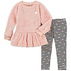 Juicy Couture® Size 3-6M 2-Piece Faux Fur Top and Stripe Pant Set in Pink