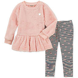 Juicy Couture® 2-Piece Faux Fur Top and Stripe Pant Set in Pink