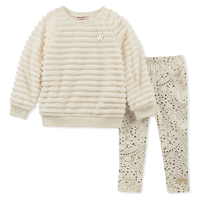 Juicy Couture 2 Piece Faux Fur Top And Pant Set In Cream Bed Bath