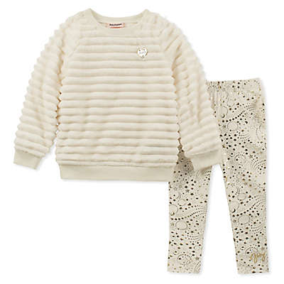 Juicy Couture® 2-Piece Faux Fur Top and Pant Set in Cream