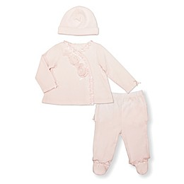 Clasix Beginnings 3-Piece Take Me Home Top, Footed Pant and Hat Set in Pink