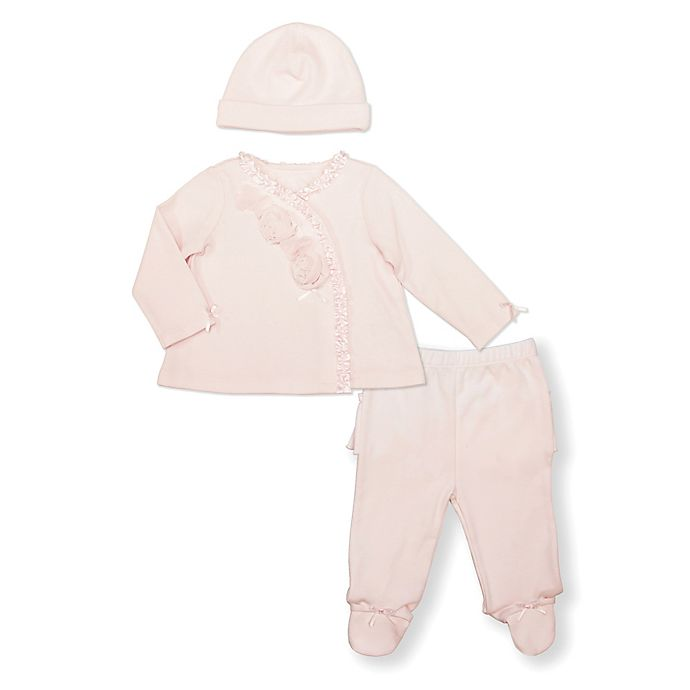 Alternate image 1 for Clasix Beginnings Size 9M 3-Piece Take Me Home Top, Footed Pant and Hat Set in Pink