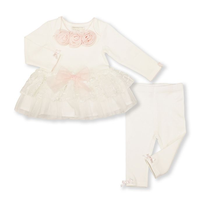 Alternate image 1 for Clasix Beginnings 2-Piece Tutu Top and Legging Set in Ivory