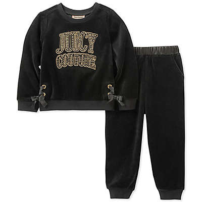 Juicy Couture® 2-Piece Logo Top and Jogger Set in Black