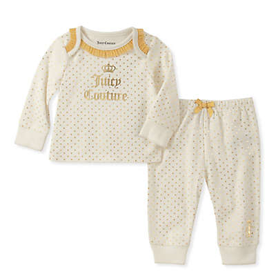 Juicy Couture® 2-Piece Polka Dot Top and Pant Set in White