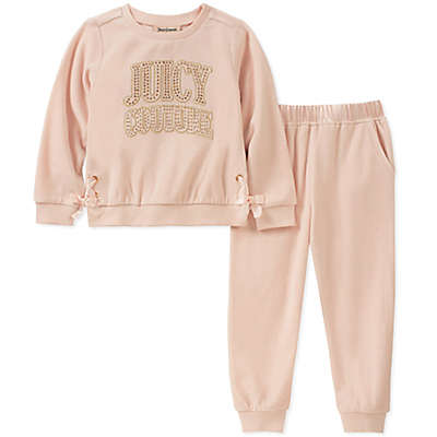 Juicy Couture® 2-Piece Logo Top and Jogger Set in Rose Gold