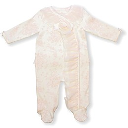 Clasix Beginnings Pink Floral Ruffle Footed Coverall in Ivory