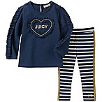 Juicy Couture® Size 3-6M 2-Piece Long Sleeve Ruffle Heart Top and Striped Pant in Navy