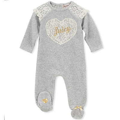 Juicy Couture® Lace Heart Footie in Grey