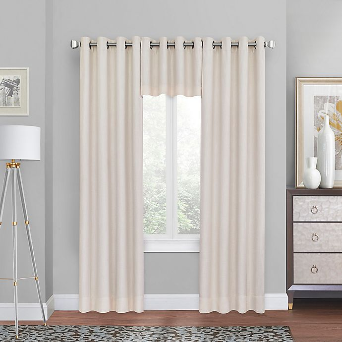 Alternate image 1 for Quinn Grommet Top 100% Blackout Window Curtain Panel and Valance