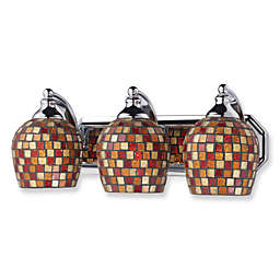 ELK Lighting 3-Light Vanity Polished Chrome/Multi Mosaic Glass